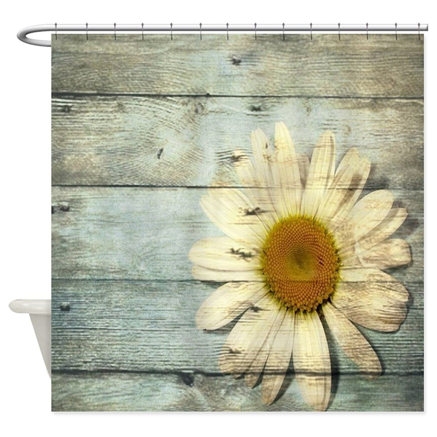 CHARM HOME Personalized Shabby Chic Country Daisy Waterproof Fabric Polyester Bathroom Shower Curtain