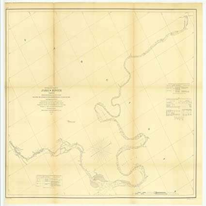 James River Us Map.Amazon Com 8 X 12 Inch 1855 Virginia Old Nautical Map Drawing Chart