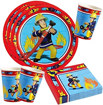 Set FEUERWEHRMAN SAM Kinder Geburtstag Party Deko Teller Becher etc. 53 tlg