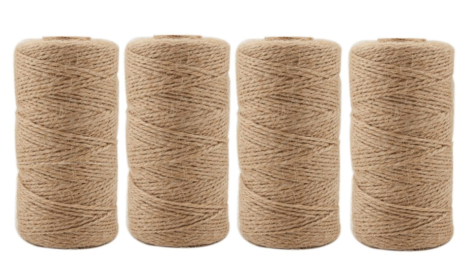 Jute Twine 1312 Feet 2mm 3Ply Natural Arts Crafts Jute Rope Durable Packing String for Gardening Applications(4pcs x 328feet)