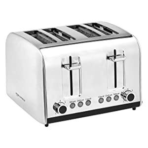AmazonCommercial 4-Slice, Extra-Wide Slots with 7 Shade Settings, Stainless Steel 1800W Toaster