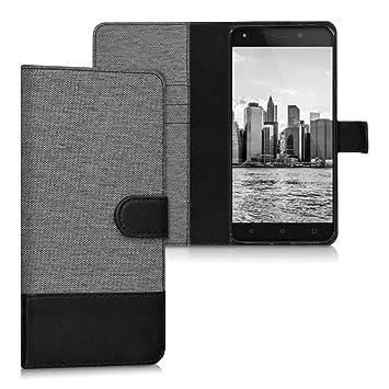 kwmobile Funda compatible con bq Aquaris M5.5 / M 2017 - Carcasa de tela y cuero sintético tarjetero gris / negro