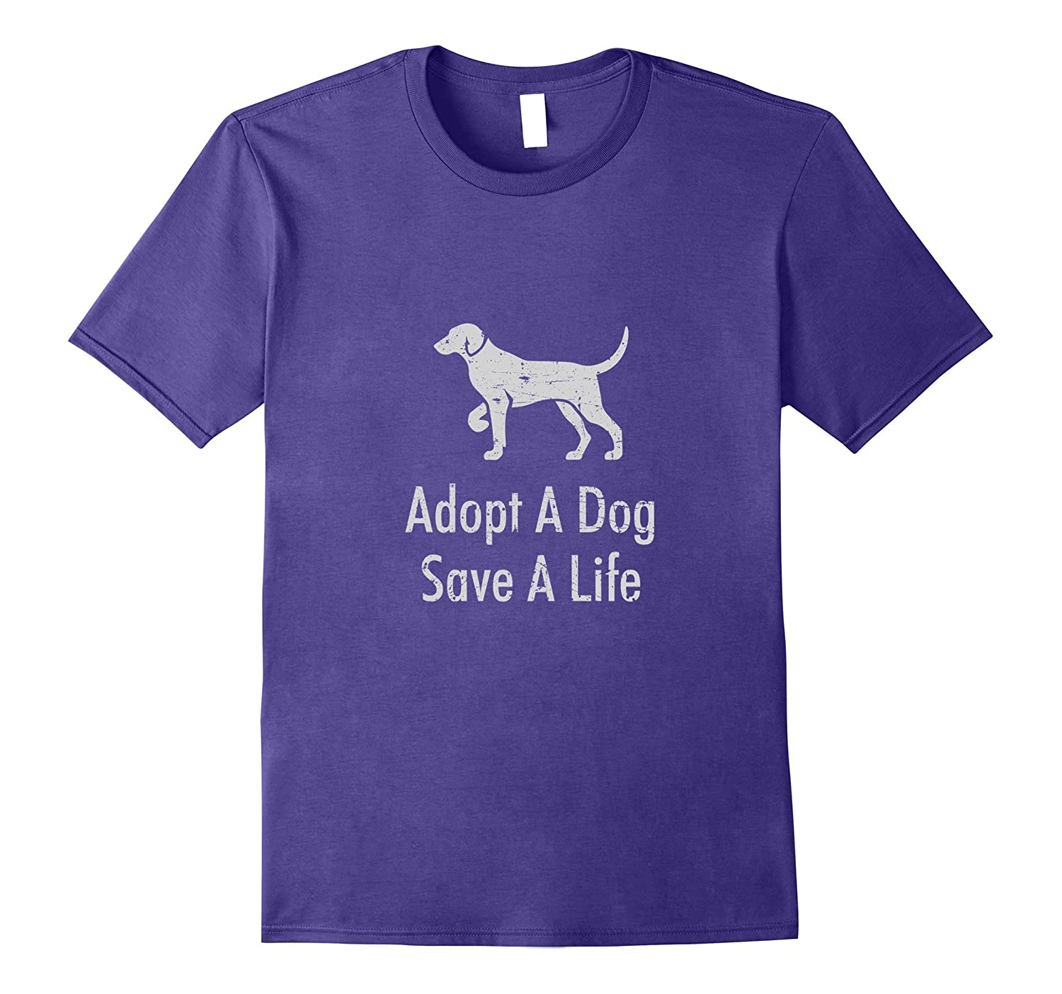 Adopt a Dog Save a Life - Cute Rescue Distressed T-shirt-BN