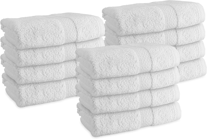 Arkwright Admiral Premium White Washcloths (13 x 13 in.) - for Bathroom, Kitchen, Salon, Spa (12)