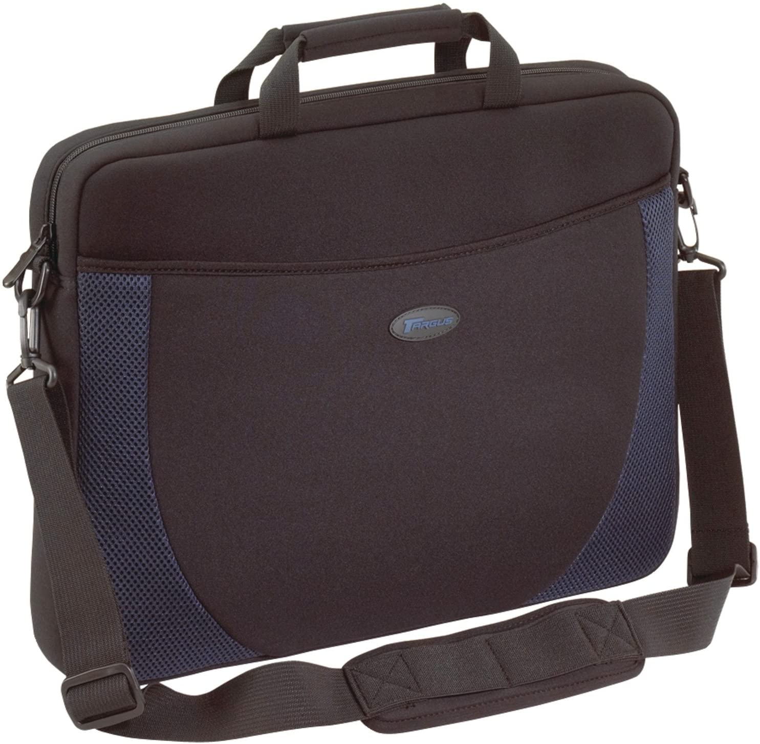 Targus Neoprene Slipcase Sleeve with Shoulder Strap, TSA Checkpoint-Friendly, Trolley Strap, Professional Business and Travel Laptop Tote Bag for 17-Inch Laptop, Black with Blue Accents (CVR217)