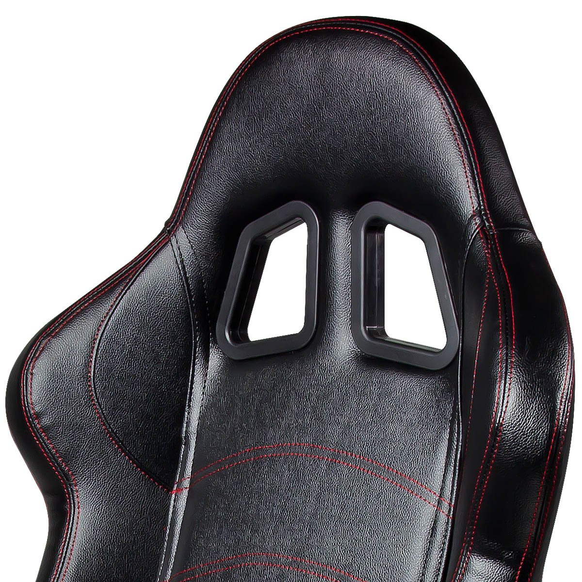 Left//Driver Side Only DNA RS-T1-PVC-BK-L Type-1 Black PVC Leather with Red Stitch Racing Seat