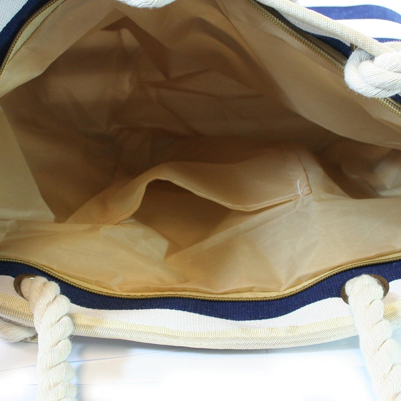 poche int/érieure zipp/ée et sac /à main zipp/é assorti. Black Ginger Sac de plage zipp/é de haute qualit/é avec poign/ées en corde doublure imperm/éable