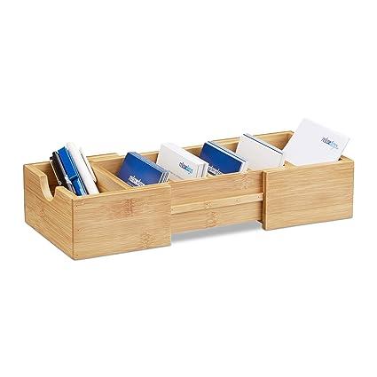Relaxdays Karteikasten Din A8 Bambus Visitenkarten Organizer Zum Ausziehen H X B X T Ca 5 5 X 13 X 30 Cm Natur