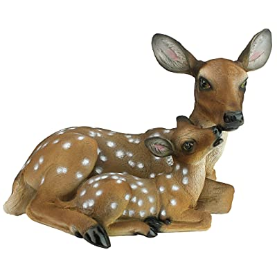 Design Toscano QL55949 Mothers Love Doe and Fawn Garden Animal Statue, 19 Inch, Polyresin, Full Color : Outdoor Statues : Garden & Outdoor