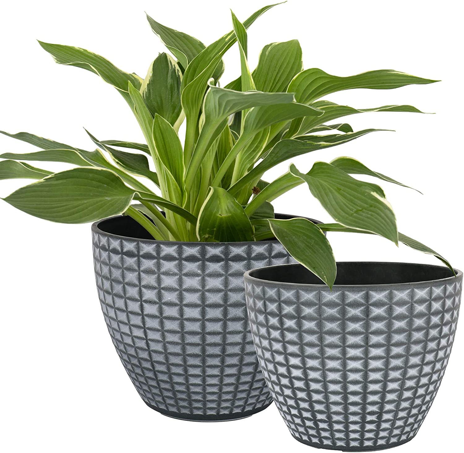 LA JOLIE MUSE Flower Pots Outdoor Indoor, Modern Chic Planters with White Geometric Mosaic Texture Patterns in Gray Gradient Background, Set of 2 (8.6 + 7.5 Inch)