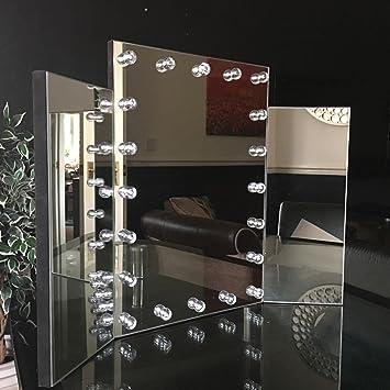 Triple Dressing Table Make Up Mirror Large Tri Fold Led Lights