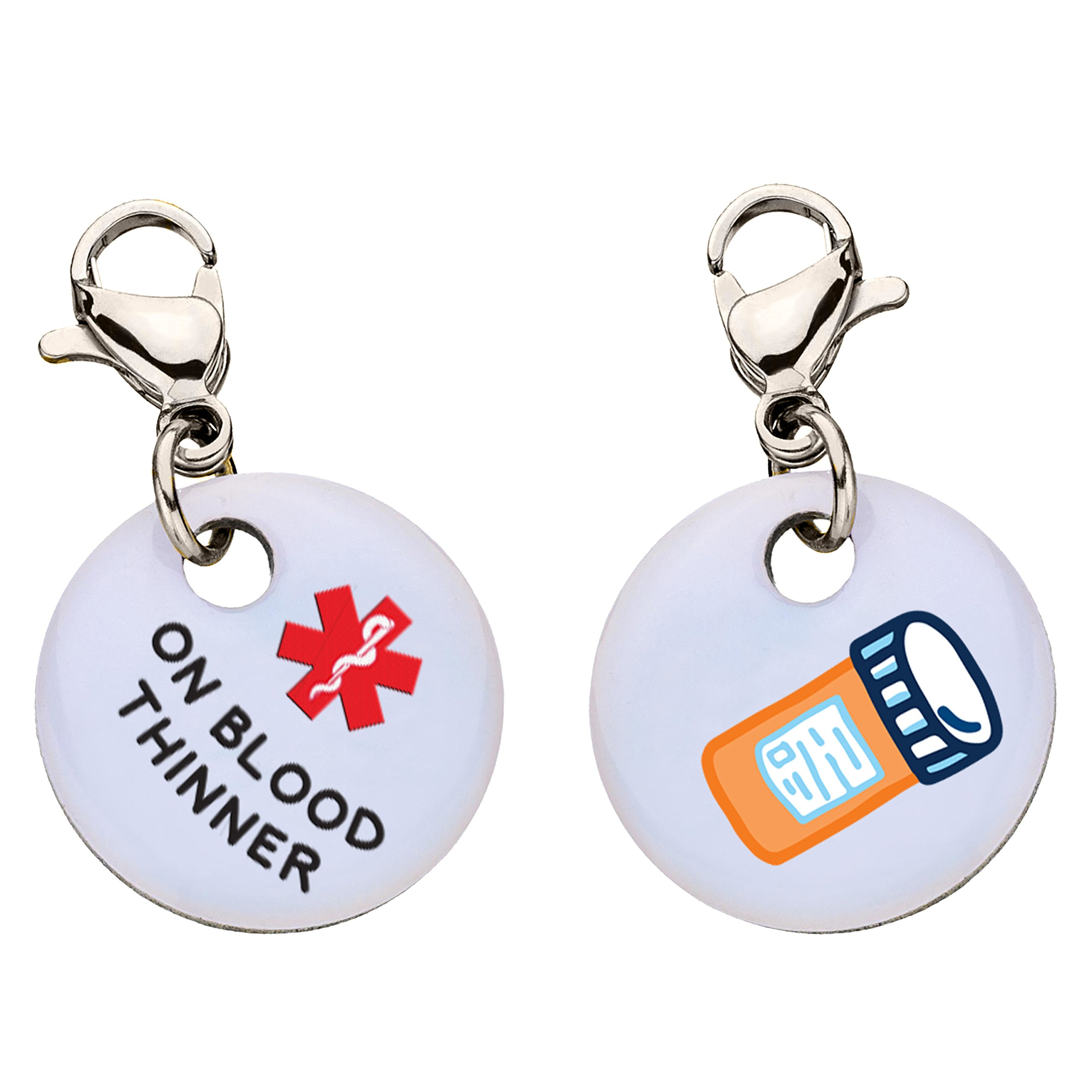 On Blood Thinner Snap-On Bracelet Charm-Parent (Stainless Steel)