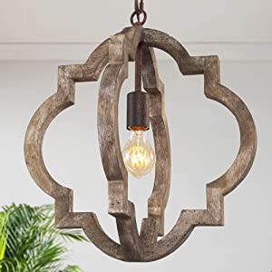 """KSANA Farmhouse Chandeliers for Dining Rooms, Antique Dark Wood Pendant Lighting Fixture for Foyer, Kitchen Island, D16""""xH17.5"""""""