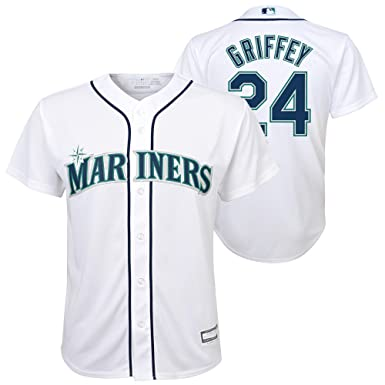 newest 11872 1ab0e Ken Griffey Jr. Seattle Mariners White Youth Cool Base Home Jersey