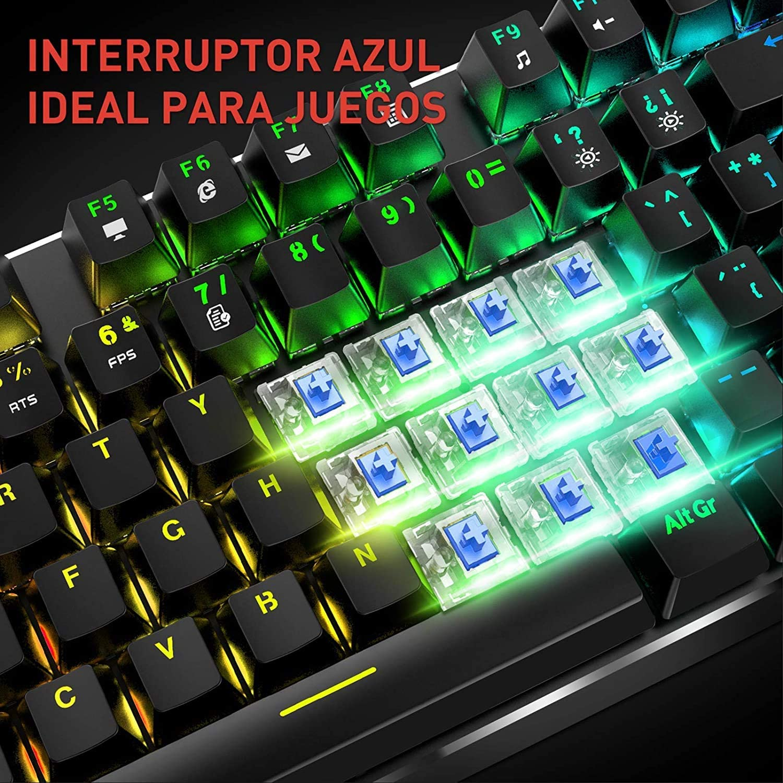 havit Teclado mecánico Gaming y ratón Español y Alfombrilla Gaming,Teclados Gaming con Cable, Azul Anti-Efecto Fantasma, Ratón Gaming programable, ...