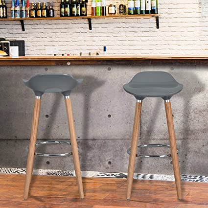 WOHOMO Kitchen Counter Height Bar Stools 32 Inches Grey Set Of 2 Tall  Barstools For Home