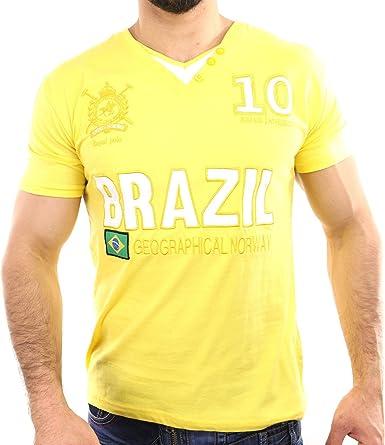 JIRIO_BOY-YEL - Niño de camiseta amarilla con cuello en v - geográfica Noruega - Jirio Boy - manga corta- - Amarillo, 8 años: Amazon.es: Ropa y accesorios