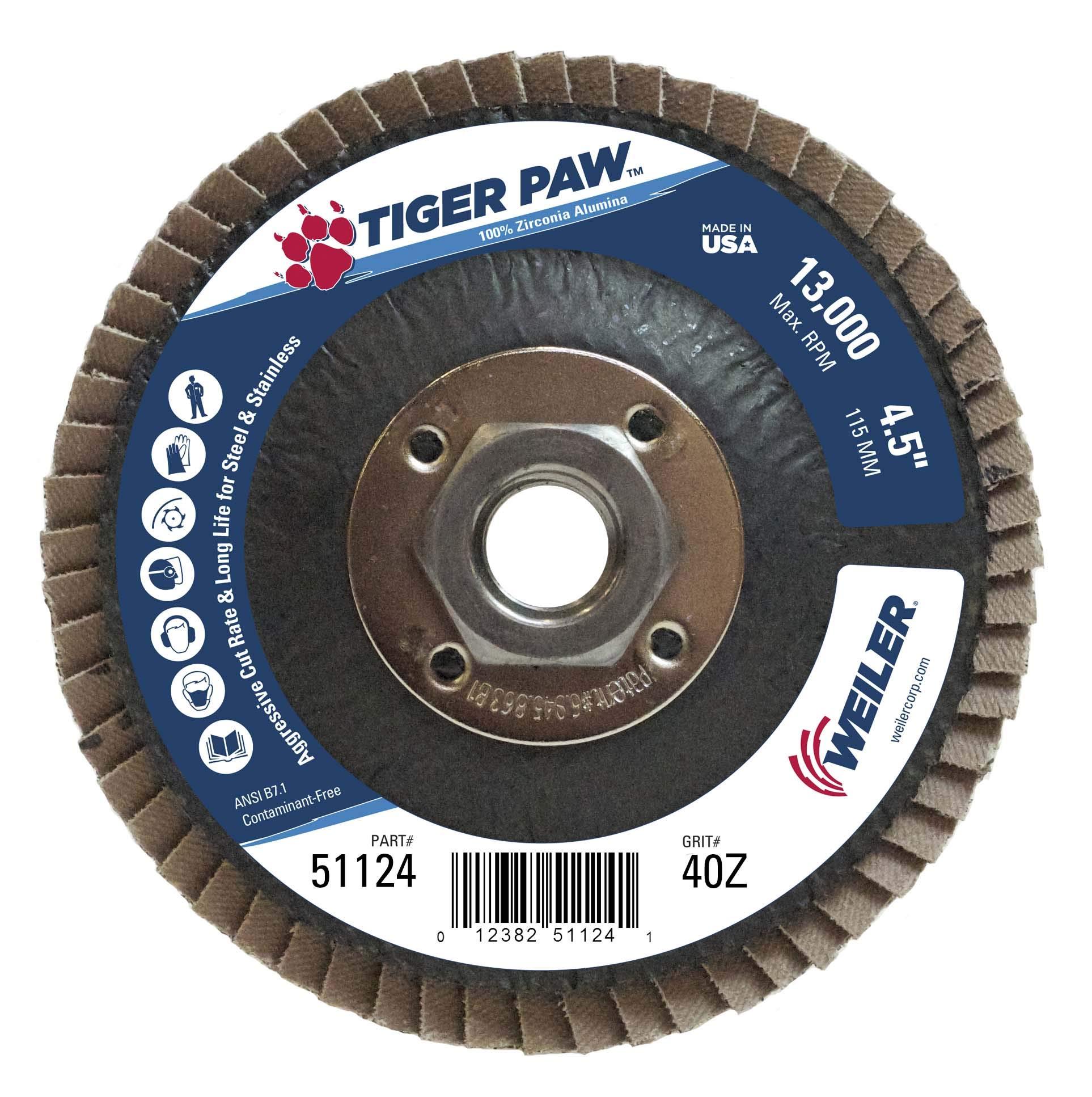 Weiler 51124 Tiger Paw High Performance Abrasive Flap Disc, Type 29 Angled Style, Phenolic Backing, Zirconia Alumina, 4-1/2'' Diameter, 5/8''-11 Arbor, 40 Grit, 13000 RPM (Pack of 10)