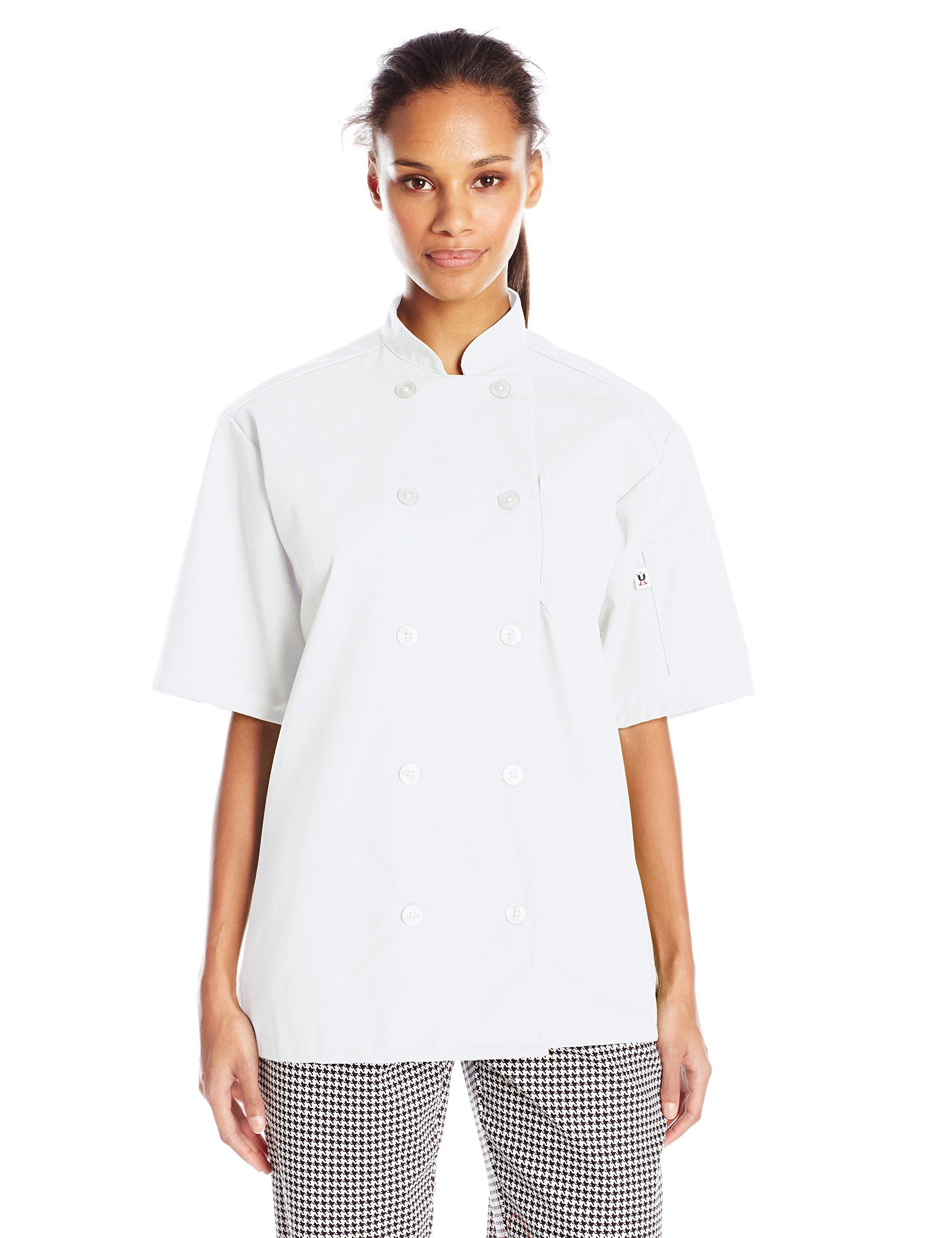 Uncommon Threads Unisex South Beach Chef Coat Short Sleeves, White, Medium