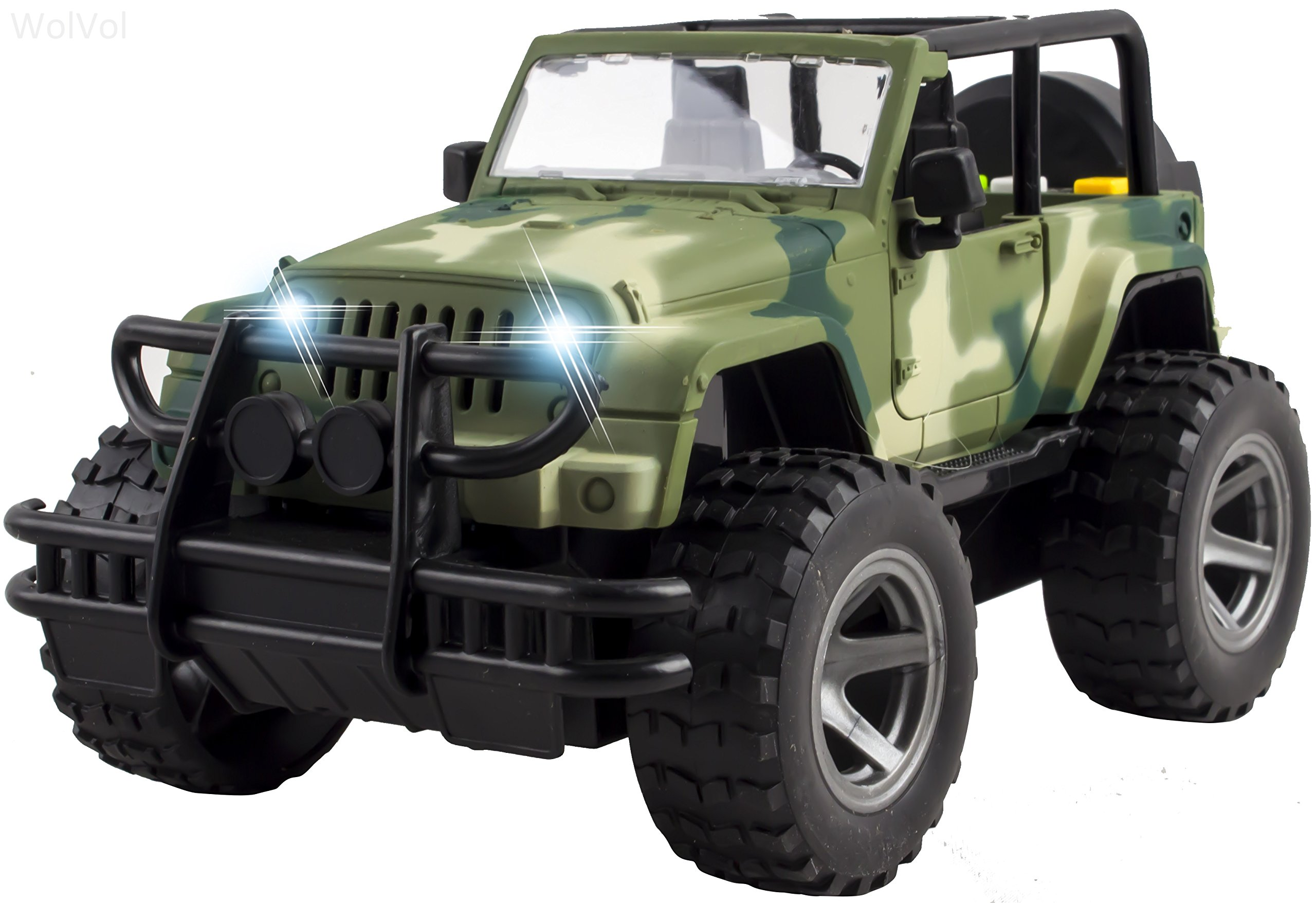 WolVol Off-Road Military Fighter Car Toy with Lights and Sound, Friction Powered, Can Open The 2 Doors