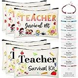 12 Pieces Teacher Appreciation Present Set 6 Teacher Survival Kit Bag Makeup Pouch Pencil Bag, 6 Teacher Blessing Card Bracel