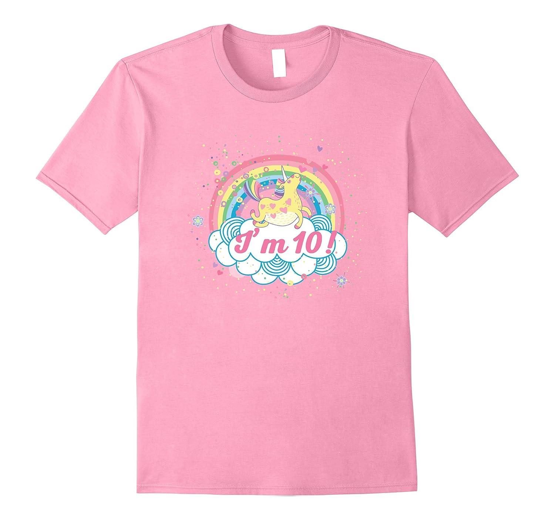 10th Birthday Shirt Girls Unicorn Rainbow Cute Party Tee-PL
