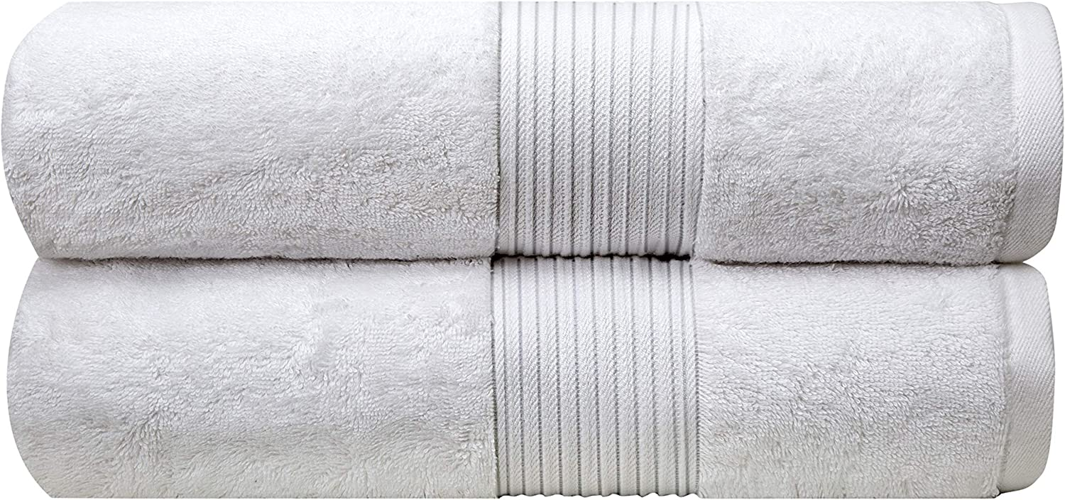 """Bliss Luxury Bath Towels Set - 34"""" x 56"""" Extra Large Premium Quality Bath Sheet - 650 GSM - Soft Combed Cotton, Absorbent (White, 2 Pack)"""