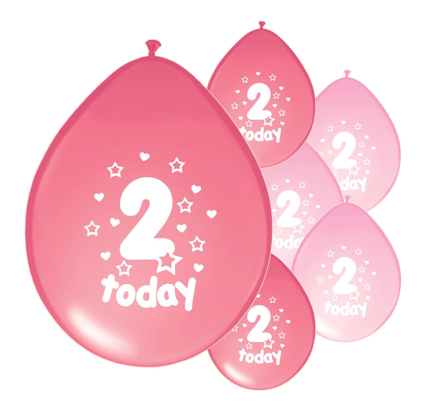 10 x 2ND BIRTHDAY GIRL AGE 2 GIRL LIGHT PINK AND PINK MIX PACK