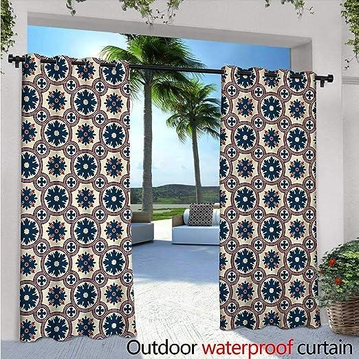 Floral Outdoor- Cortina de privacidad de pie al aire libre, adornos, flores, ondas, patrón de ondas,