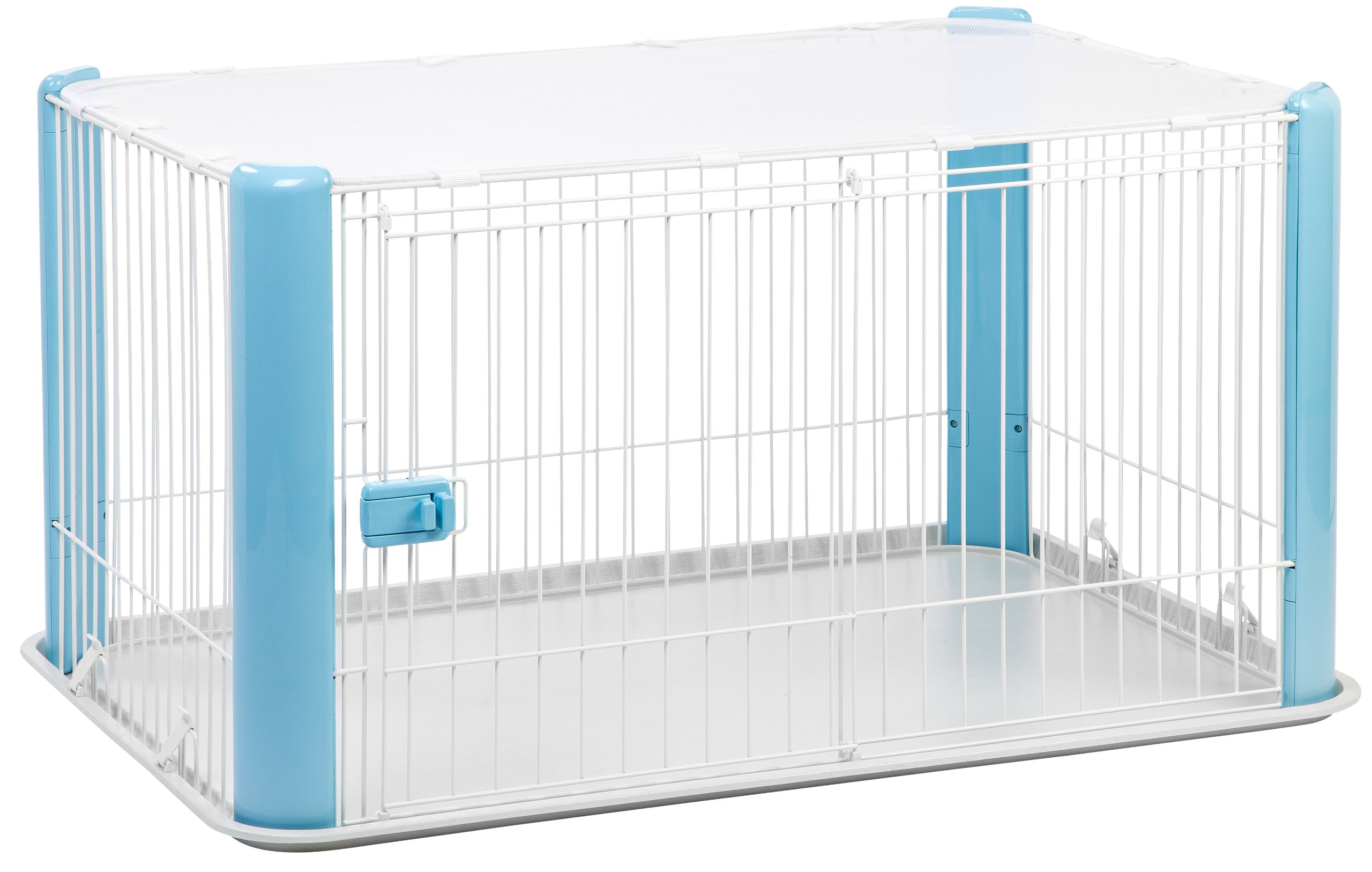 IRIS Large Wire Dog Crate with Mesh Roof, Blue by IRIS USA, Inc.