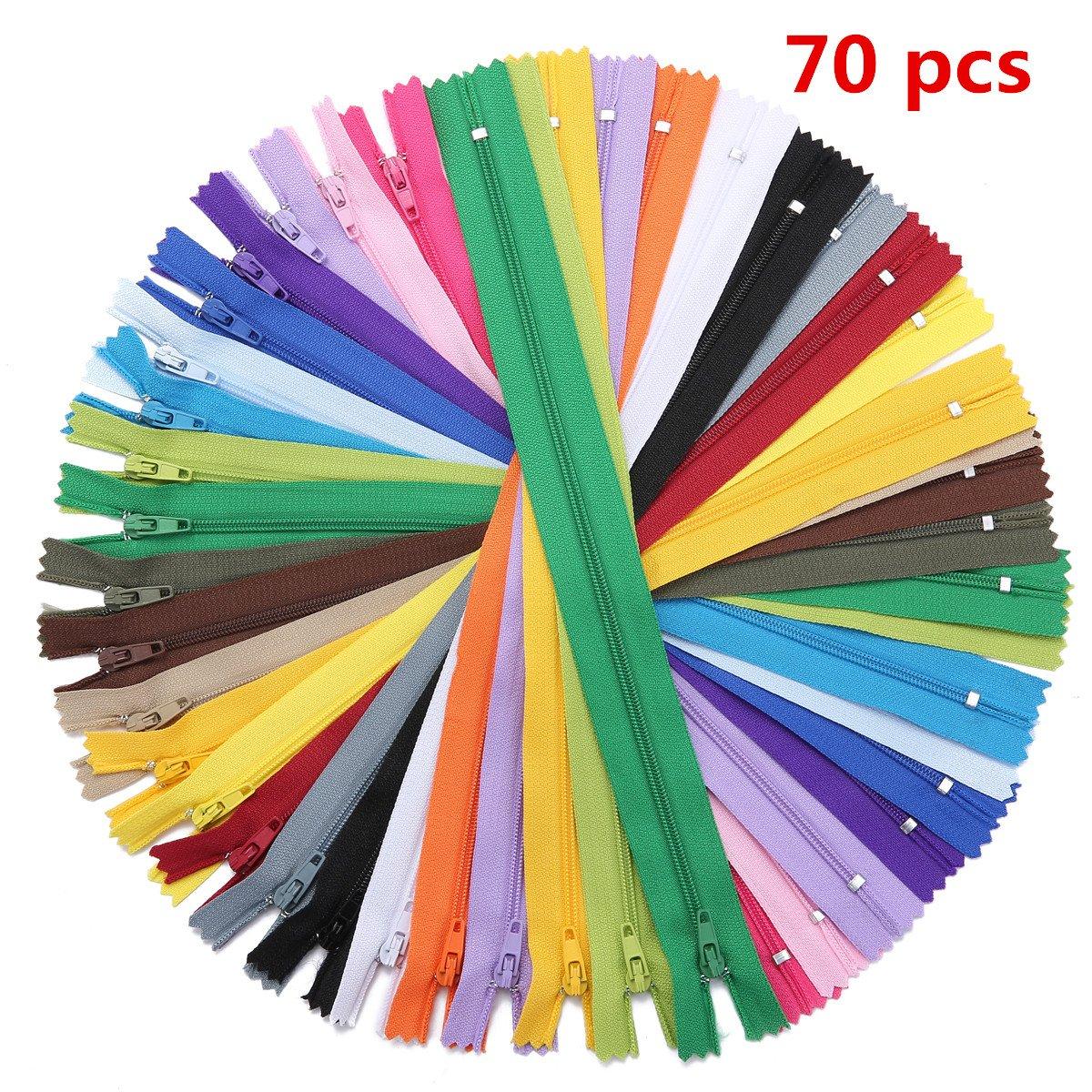 KING DO WAY 70 Pz di Cerniere Lampo 30CM, Set di Chiusura Lampo Colorata in 20 Colori Diversi, Sistema di Zipper per Tessuto/Vestito/Zaino/DIY, in Materiale di Tessuto in Nylon