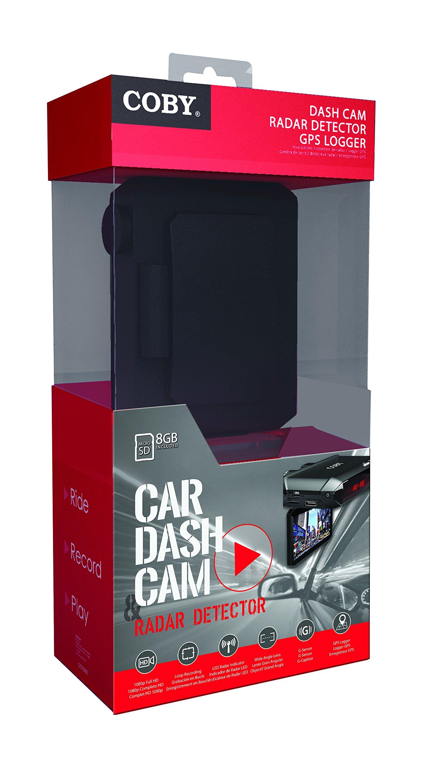 Coby DCR5000 Car Dash Cam with Radar, DVR and GPS Logger