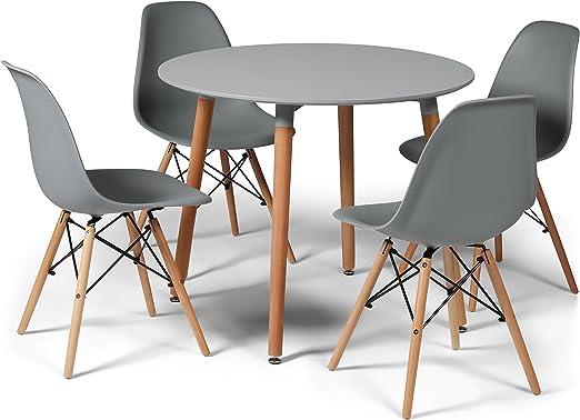 Juego de comedor gris diseño Eiffel con 4 sillas y pequeña mesa ...