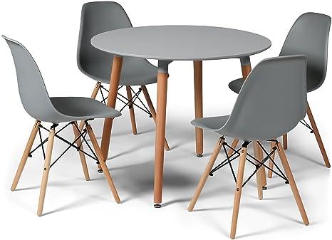 Tavolo Rotondo 90 Cm.Set Di 4 Sedie E Piccolo Tavolo Rotondo Di 90 Cm Con Gambe