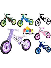 "Kobe Wooden Balance Bike ""Purple Rider"" Purple and White - Perfect Training Bike For Toddlers & Kids"