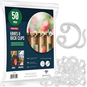 SEWANTA Holiday Christmas Light Clips - Set of 50 Deck Clip light hooks - Fascia Boards Clips - Banister light clips - Mount to Decks, Roof Eaves, Fence, & Staircases - Made in USA - No Tools Required