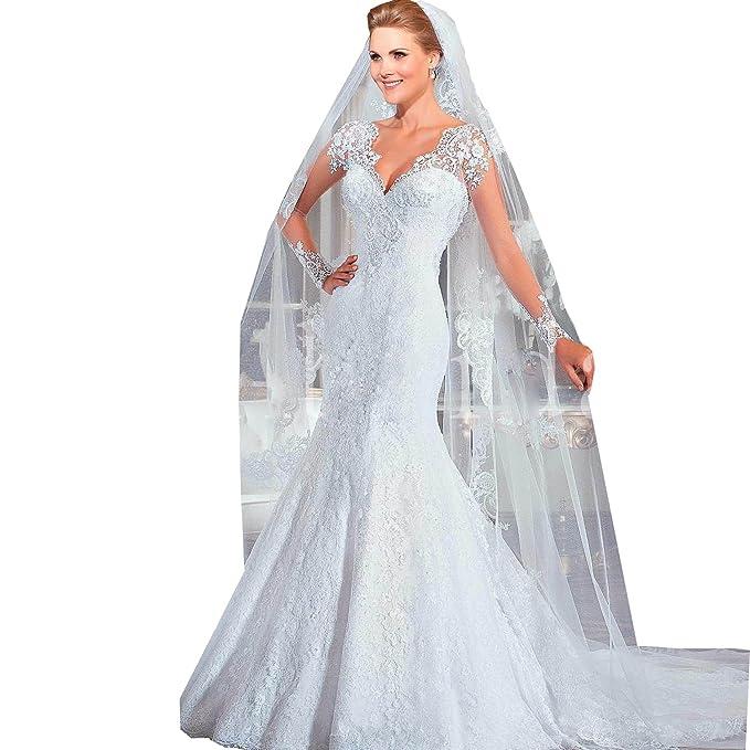 dressvip - Vestido de novia - Manga Larga - Mujer blanco blanco 2
