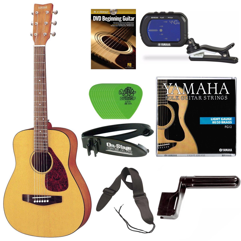 Yamaha JR1 3/4 Size Steel String Beginners Acoustic Guitar Bundle with Gig Bag, Yamaha Tuner, Yamaha Strings, Strap, Winder, Picks and Beginner DVD