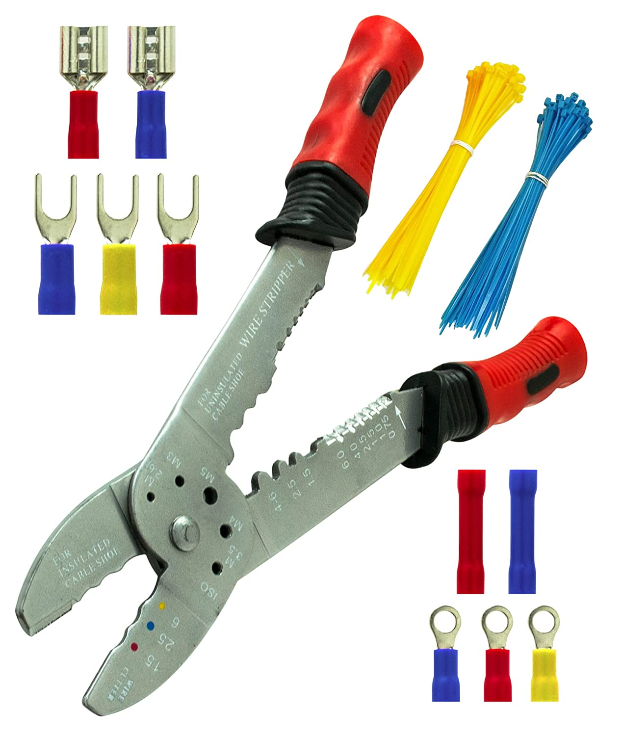 Bastex Wire Stripper/Crimping Pliers & Solder-less Clamp-On Terminal ...