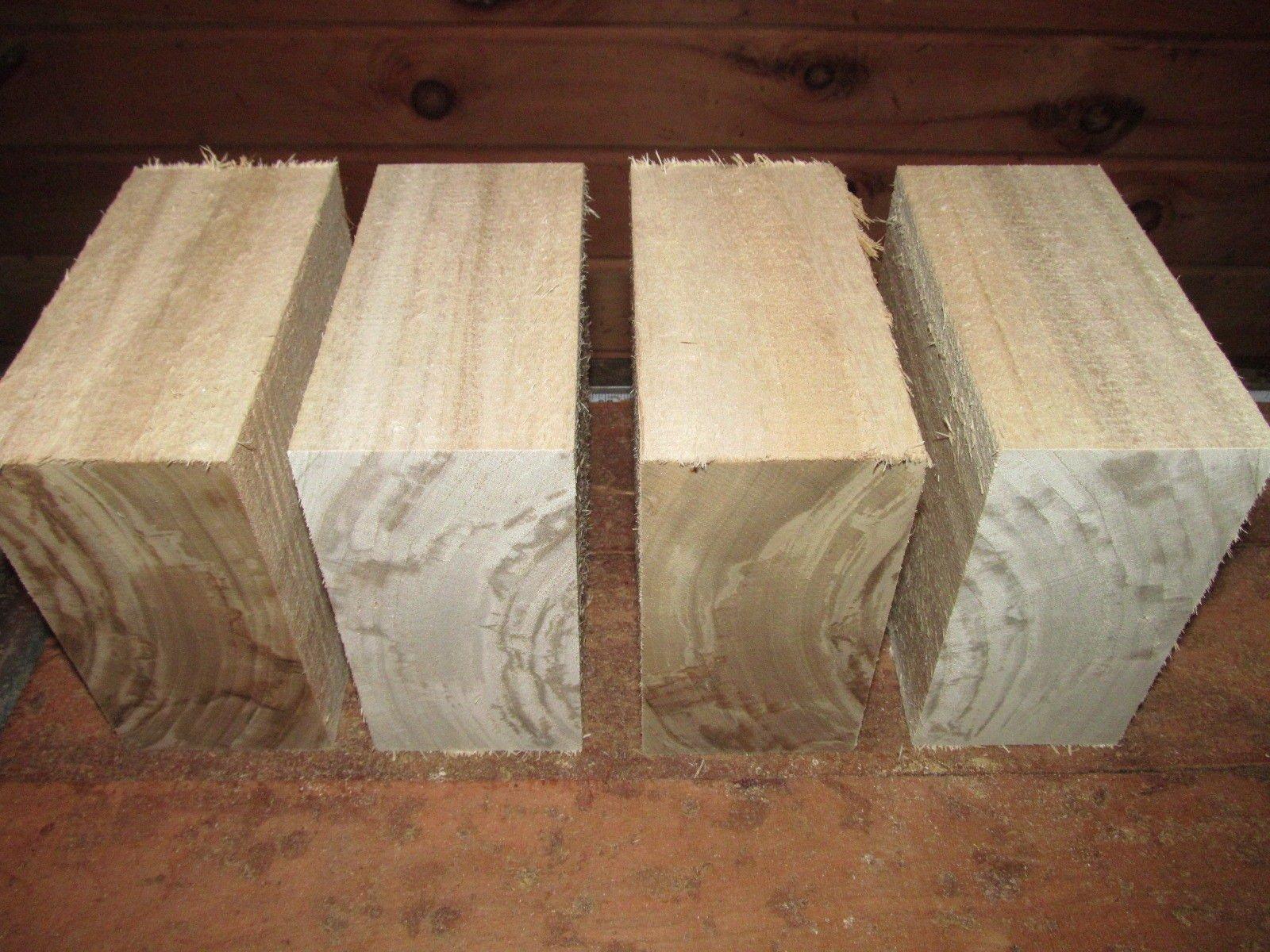 4 Cottonwood Bowl Blanks Turning Blocks Lumber Wood Lathe Carve Turn 5 X 5 X 3''