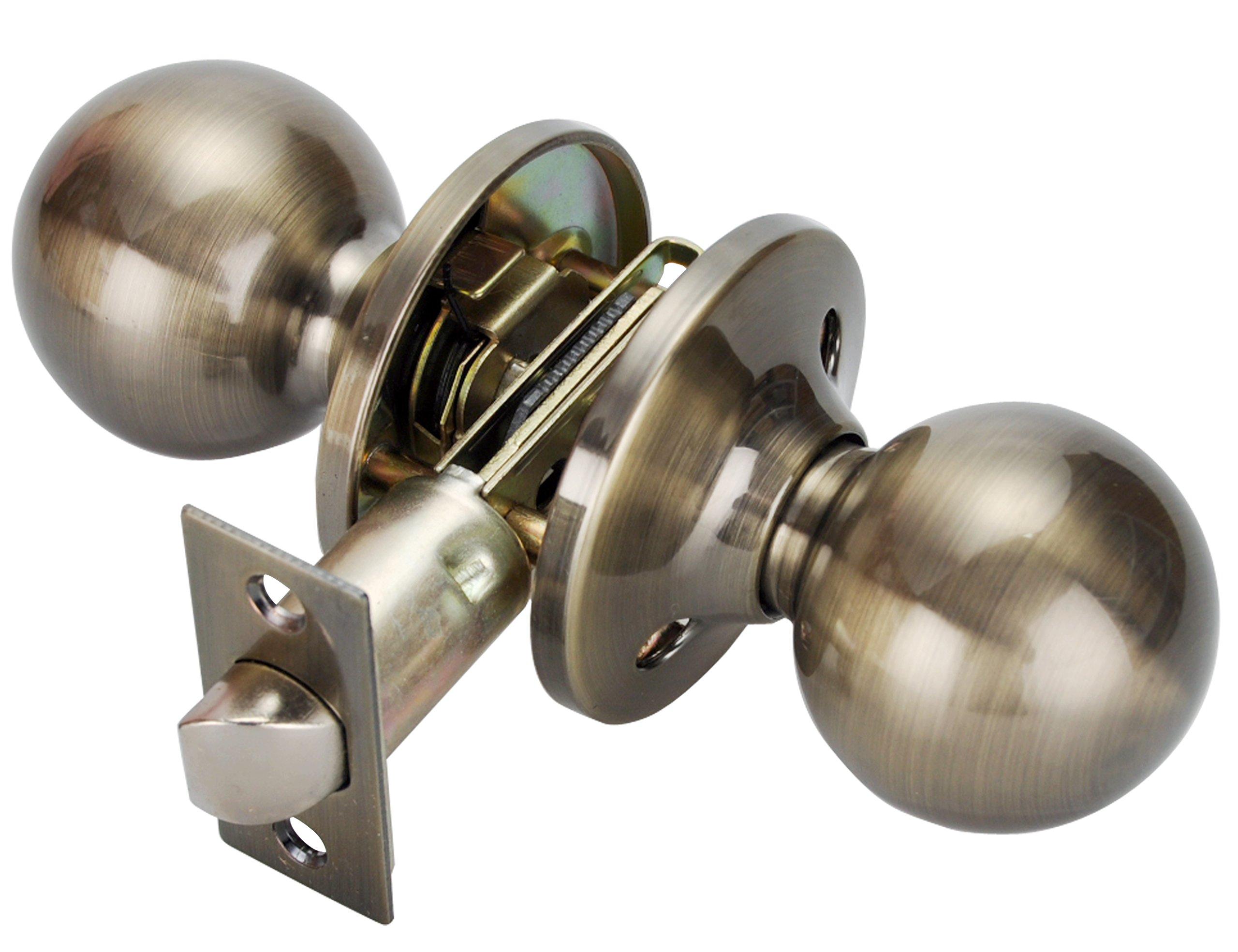 Privacy Door Lock, Antique Brass Door Knobs,Interior Door Lock with Knob for Bedroom or Bathroom in Antique Brass,5763-AB-BK