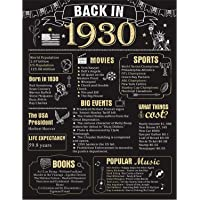90 Years Ago Birthday Party Decorations 11 x 14 90th Poster Card Sign Wedding Anniversary Supplies Home Decor (Back in 1930-90 Years)