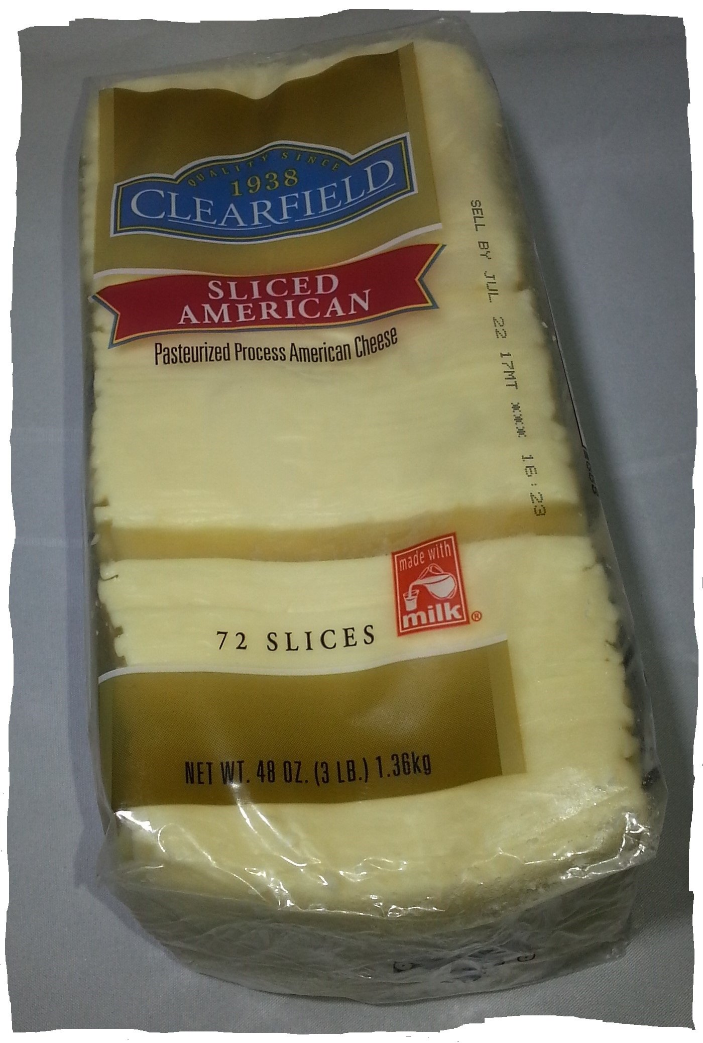 CLEARFIELD SLICED AMERICAN CHEESE. WHITE. 3 LB. 72 SLICES.