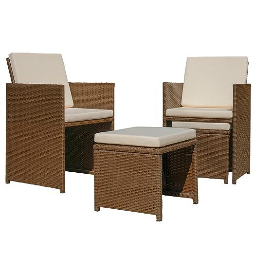 Miadomodo - Conjunto de muebles para jardín - 1 mesa de comedor, 2 sillas y 2 taburetes con cojínes - color a elegir: Amazon.es: Jardín