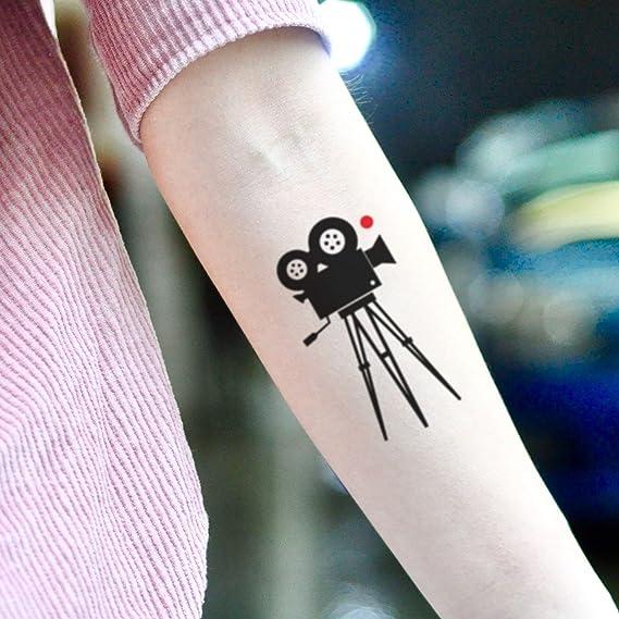 Tatuaje Temporal de Película Cámara Cine Viejo Película (2 Piezas ...