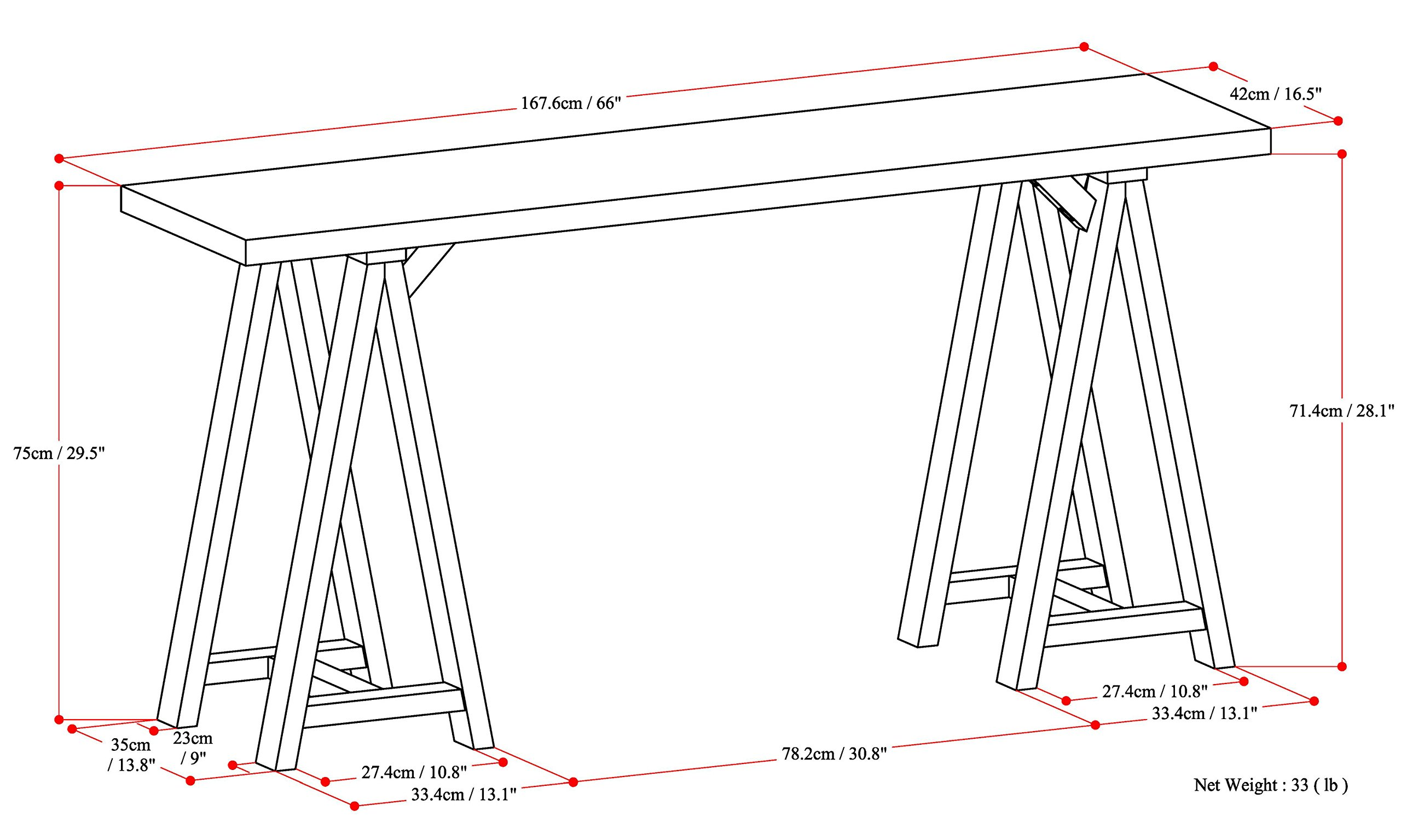 Simpli Home Sawhorse Solid Wood Wide Console Sofa Table, Medium Saddle Brown by Simpli Home (Image #6)
