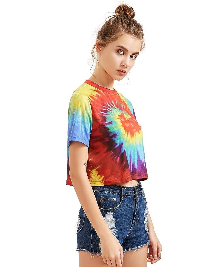 348c21ad01 SheIn Women's Tie Dye Print Round Neck Short Sleeve Crop T-Shirt Top at  Amazon Women's Clothing store: