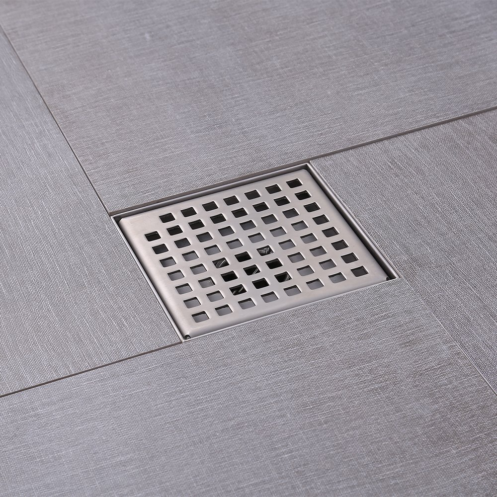 KES Square Shower Floor Drain with Removable Grate Strainer SUS 304 Stainless Steel Bathroom Drainer RUSTPROOF Brushed Finish, V255S14 by Kes (Image #2)