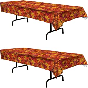 Beistle , 2 Piece Fall Leaf Tablecovers, 54'' x 108''