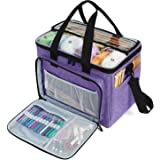 """Teamoy Knitting Bag, Yarn Tote Organizer with Inner Divider (Sewn to Bottom) for Crochet Hooks, Knitting Needles(Up to 14""""),"""